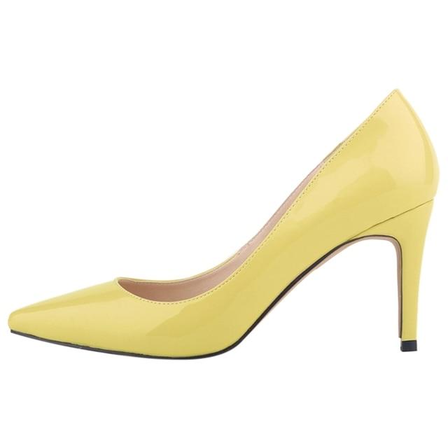 LOSLANDIFEN женская острым носом стилет Высоких каблуках Мелкая рот высокие каблуки обувь Желтый
