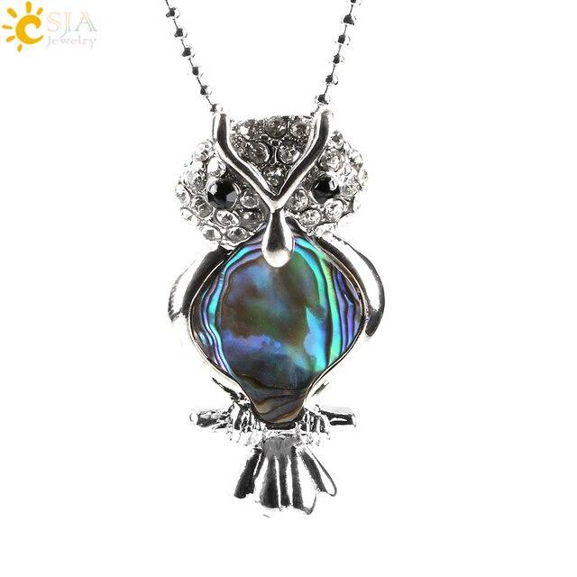 CSJA Animal Abalone Series Women Jewellery Necklace Standing Owl Shape Paua Shell Alloy Jewelry Rhinestone Bird Pendant E473