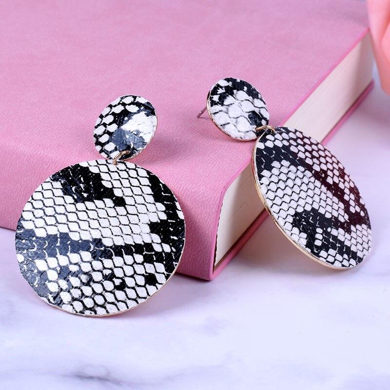 Fashion New Snake Skin Leather earrings Geometric Drop Earrings for Women  Vintage Big Statement Earrings  Party Jewelry