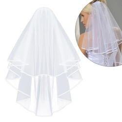 Простой и элегантный свадебная вуаль для новобрачных Тюлевая Фата с расческой и кружевной лентой край белый (белый)