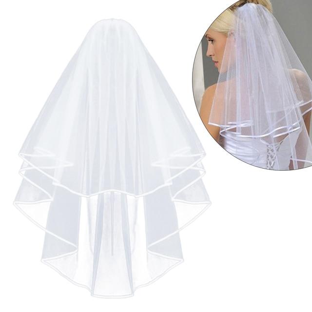 Sederhana dan Elegan Pernikahan Kerudung Pengantin Tulle Kerudung dengan Sisir dan Renda Pita Tepi Putih (Putih)