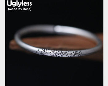Uglyless Real S999 Fine Silver Women Ethnic Opening Bangles Handmade Engraved Flower Totem Bangle Classic Simple Fashion Jewelry