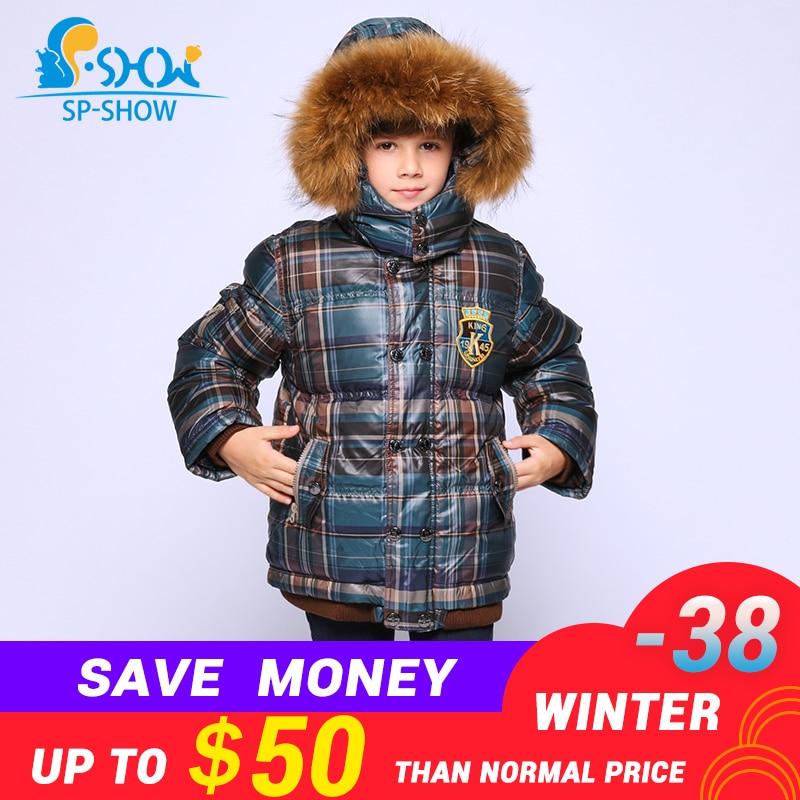 SP-SHOW Enfants D'hiver Vers Le Bas Manteau Manteaux À Capuche Garçons Manteau Chaud Épais Avec Polaire Vers Le Bas et Parkas 9301