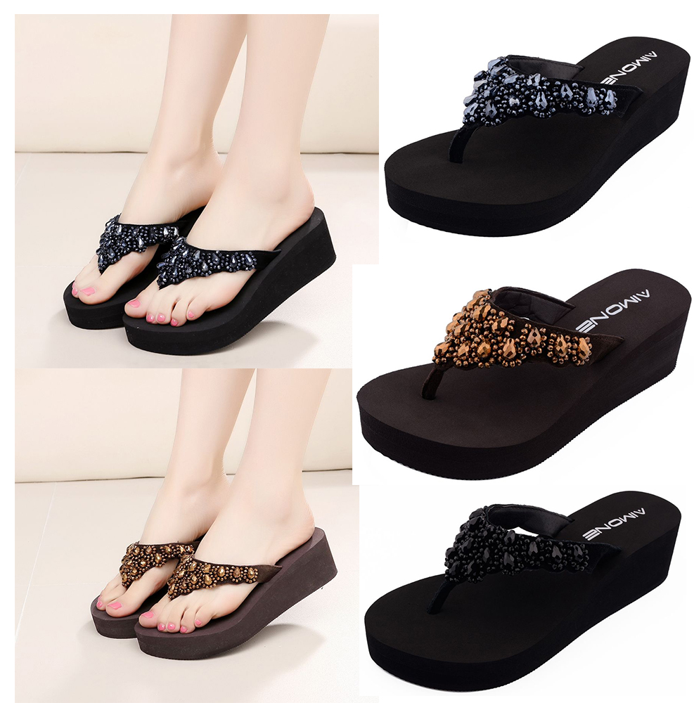 Women Flip Flops Women Pewter Brown Black Rhinestone Sandals Beach Slippers Shoes Summer Sandals Flip Flops Lady Wedges Shoes