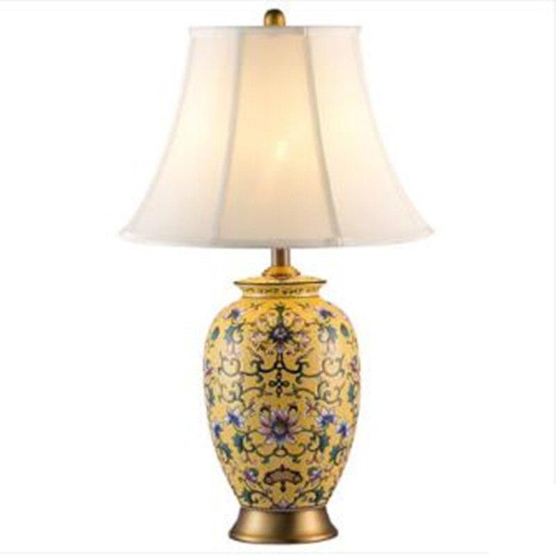 Классический Европейский ручная роспись Керамика Ткань E27 Настольная лампа для Гостиная Спальня исследование H 72 см 80-265 В 2131