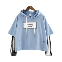 2018 New Autumn Women Sweatshirt Fashion Striped Sleeve Patchwork Casual Hoodies Cotton Spring BTS Kpop Harajuku EXO Clothes