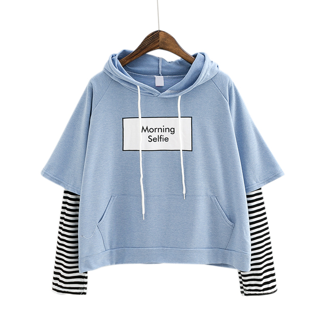 1c4d3fe178d6 2018 New Autumn Women Sweatshirt Fashion Striped Sleeve Patchwork Casual  Hoodies Cotton Spring BTS Kpop Harajuku