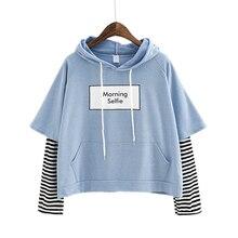 Kpop New Autumn Women Sweatshirt Fashion Striped Sleeve Patchwork Casual Hoodies Cotton Sp