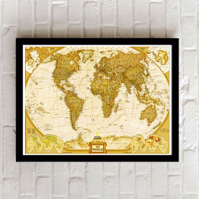 framed painting letter globe world map decoration pictures to wall for living room art canvas english