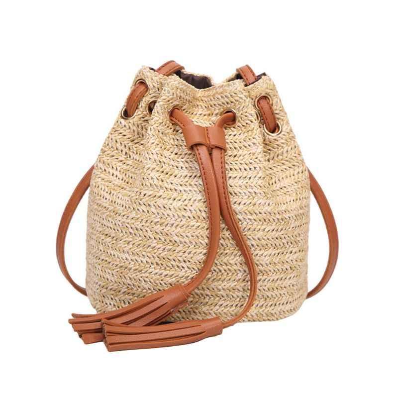 Высококачественная Новая повседневная женская Соломенная Сумка на шнурке Летняя Пляжная тканая сумка на плечо с кисточками сумка через плечо