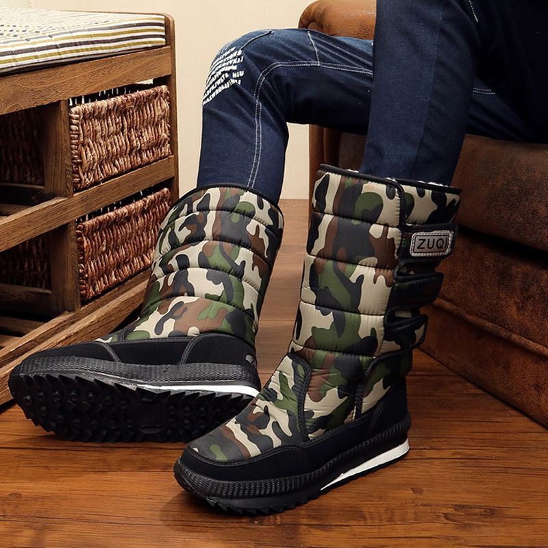 Winter Unisex Snow boots 2017 Fashion Rubber Boots Women Camouflage Mid-Calf SnowBoots Hook Loop Warm Winter boots Plus Size 47
