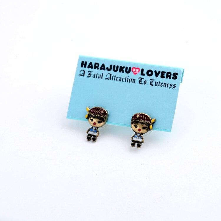 On Sale Promotion Vintage Boy Glazed Stud Earrings Women Retro Brincos Earrings Bijoux Jewelry Gift E5191