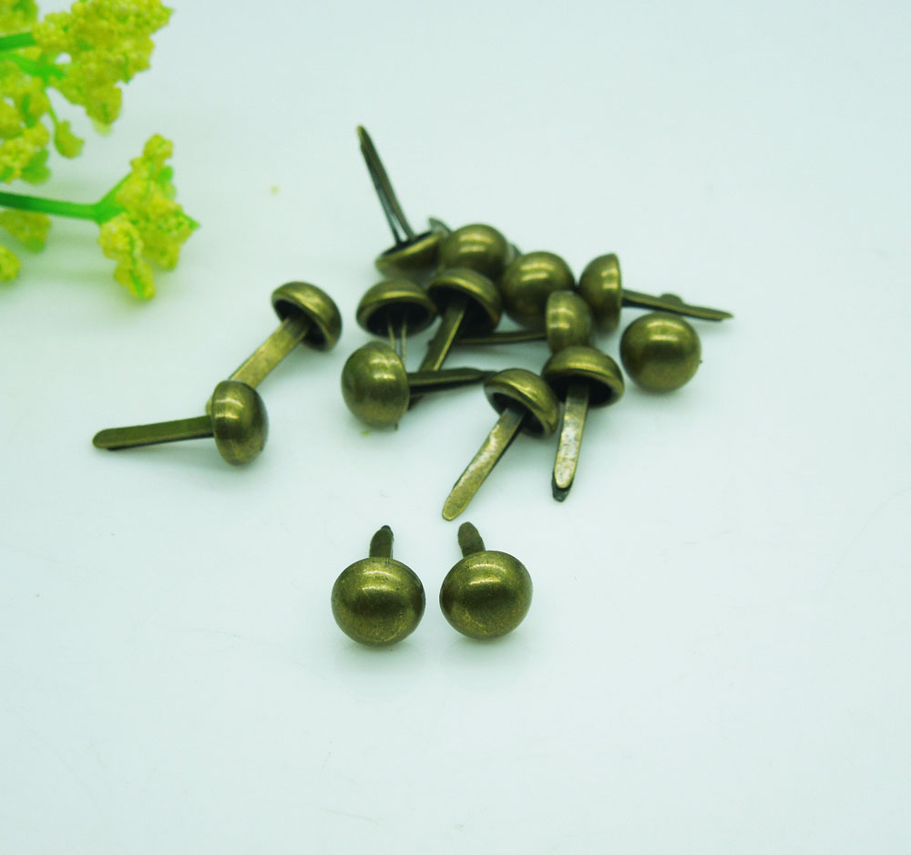 500pcs/lot Metal Crafts Round 6mm Mini Brads Scrapbooking Embellishment DIY Bronze Plated