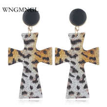 WNGMNGL Fashion Snakeskin Leopard print Earrings exaggeration Geometric Statement Leaf cross Drop For Women Jewelry
