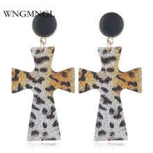 WNGMNGL Fashion Snakeskin Leopard print Earrings exaggeration Geometric Statement Leaf cross Drop Earrings For Women Jewelry цены