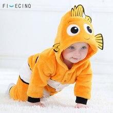 Costume de Cosplay jaune pour enfants, Costume de dessin animé poisson Kigurumis pour bébés, pyjama Animal mignon, cadeau de noël pour petits garçons et filles, pyjama chaud dhiver