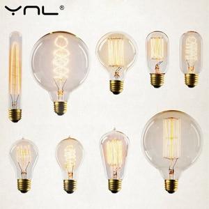 Лампа Эдисона ST64 A19 T45 G80 G95 G125, лампа накаливания E27 220V 40W, лампы накаливания, осветительные трубки Эдисона
