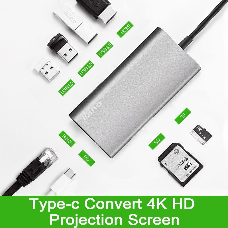 USB C HUB 8 dans 1 USB-C HUB avec Type-c à Multi USB 3.0 HDMI RJ45 Ethernet Réseau micro SD TF Lecteur de Carte OTG Type C HUB