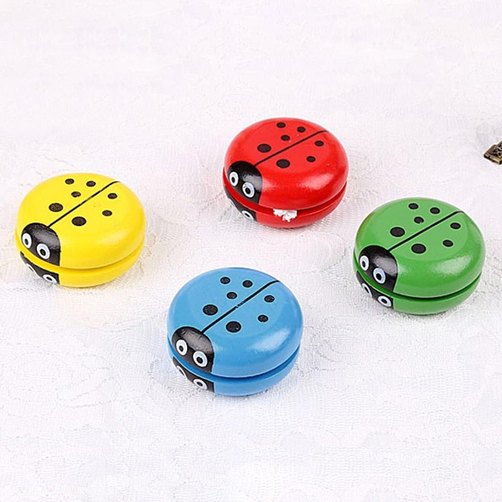 Wooden Ladybird Yo Yo Ball Blue Green Red Yellow Ladybug Yoyo Creative Toys Wooden Yo Yo Toys For Children Wyq In Short Supply Classic Toys