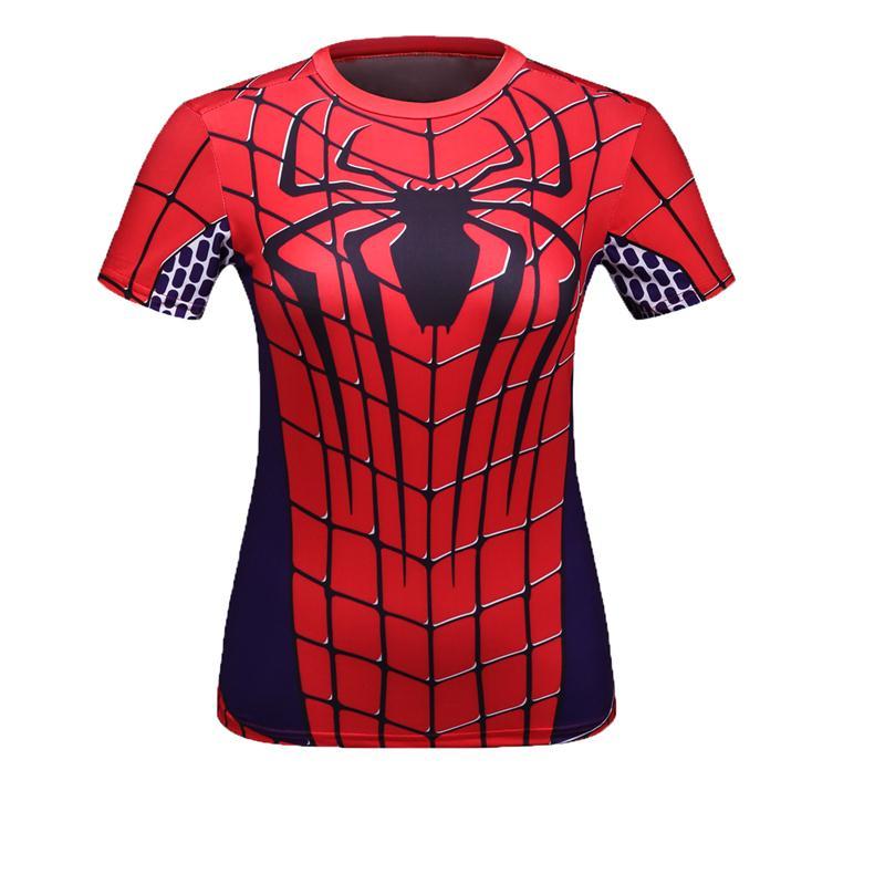 07820a5b76 Codylundin Mulheres T-shirt traje superman batman T Camisa Da Menina de manga  Curta Calças De Fitness Compressão tshirts