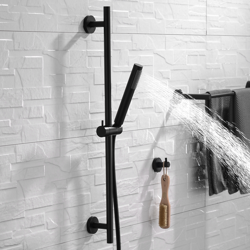 Matte Black Solid Brass Hand Shower Head With Adjustable Slide Bar Brass Hand Held Shower With Hose Shower Riser Slide Rail Bar