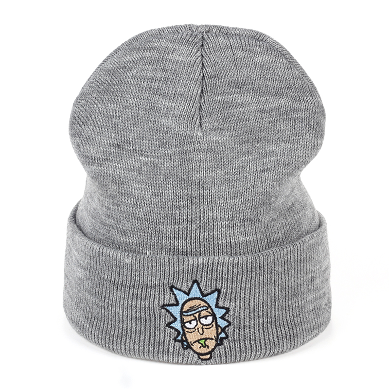 Rick and Morty Winter Hats Rick   Beanies   Elastic Brand Embroidery Ski Gorros Cap Warm Unisex Knitted Hat   Skullies   US Animation