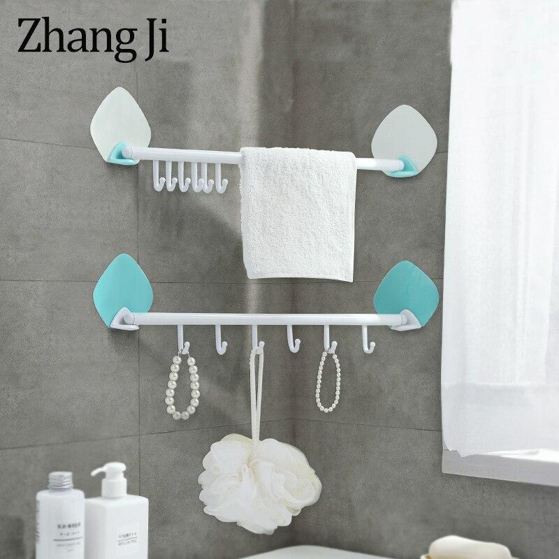 Zhangji Handy Seamless Adhesive 6 Hooks PP Rack Bathroom Shelf Housekeeper Storage Corner Shelves No Nail Rotatable Wall Shelf