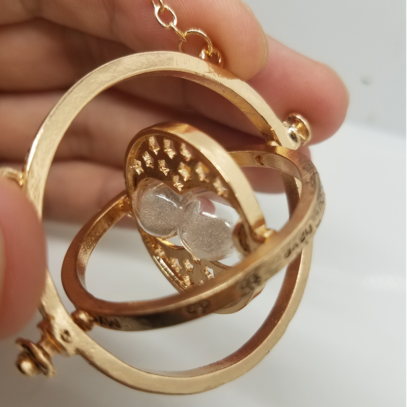 205pcs/lot Time Turner Hermione Granger Rotating Spins Hourglass Necklaces & Pendant Gold Color Time Backflow Converter Necklace-in Pendant Necklaces from Jewelry & Accessories    1