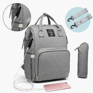 Image 1 - Moda mumya analık bez torba büyük kapasiteli bebek çantası seyahat sırt çantası hemşirelik çantası bebek bakımı için USB arayüzü ile
