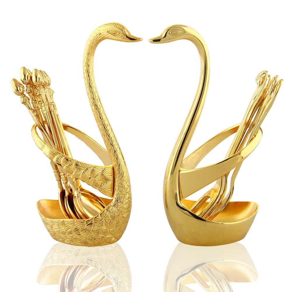 Gold color swan base fruit forks set dessert fork rack tableware decoration wedding gifts household products