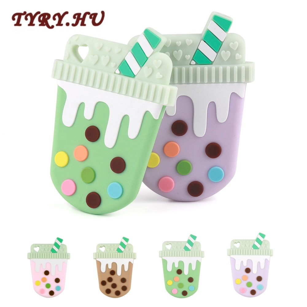 TYRY.HU 1PC Baby Teether Silicone Beads Cup Cute DIY Accessories Nursing Teething Toys BPA Free Food Grade Silicone Teether Gift