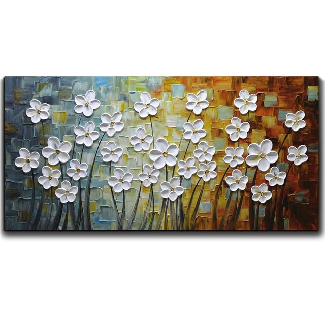 Paintings White Flower Oil Painting 3D Hand Painted On Canvas ...
