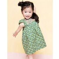 2017 New Summer Flower BP Style Baby Girl Dress Green Bird Smoking Floral Dress TUTU Party