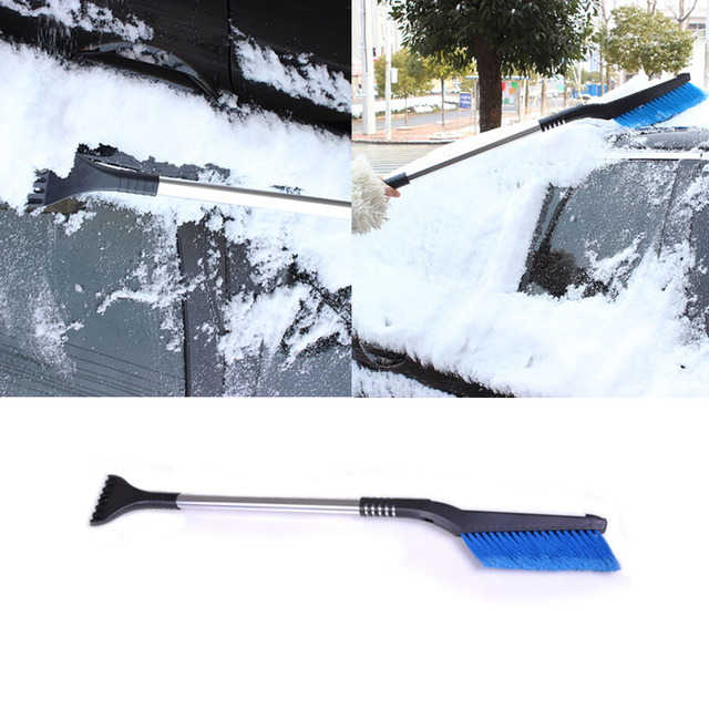 Auto Car Vehicle Snow Ice Shovel Emergency Scraper Removal Clean Tools Car Styling Accessories Aluminum Alloy Tube Blue Brush
