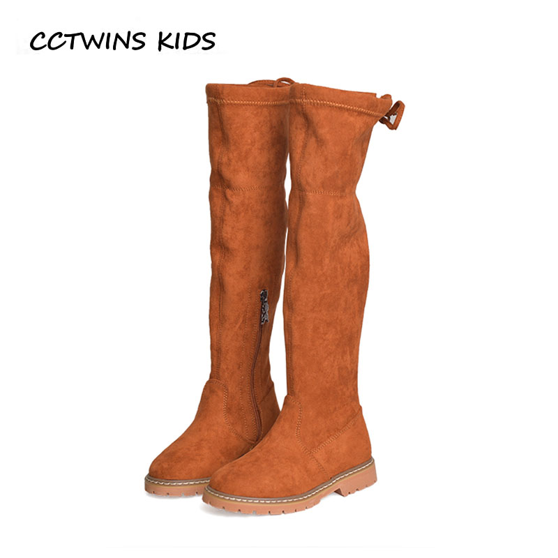 CCTWINS KIDS 2018 Winter Children Fashion Over The Knee Boot Baby Girl Leather Suede Boot Toddler Brand Black Warm Shoe H063 cctwins kids 2018 winter children brand black knee high boot baby pu leather flat girl fashion warm shoe toddler h057