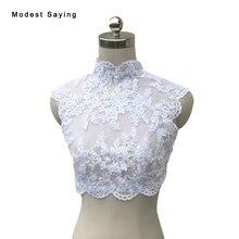 Real Photo Elegant High Neck White Beaded Lace Wedding Boleros 2017 Lace Up Bridal Shawl Jacket novia Wedding Accessories B42