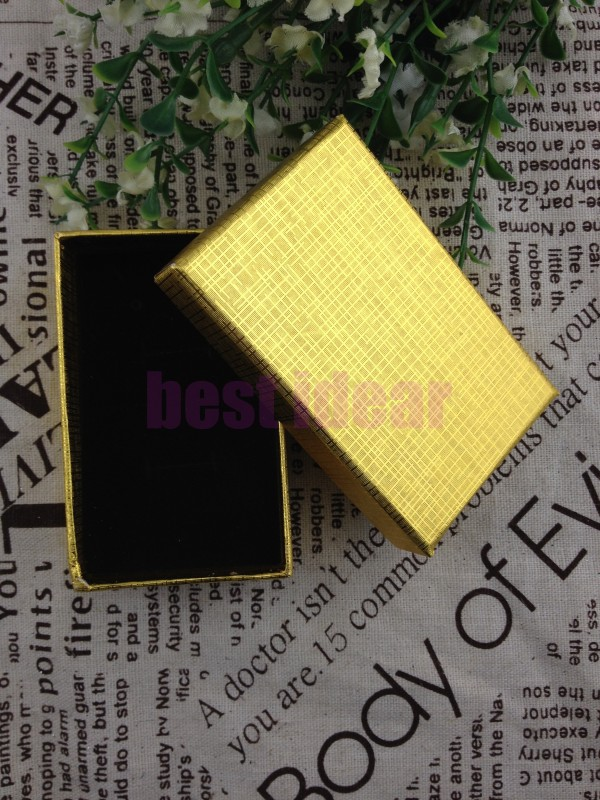 Wholesale 12pcs/Lot Romantic Gold (Inside is Black) Jewelry Box Necklace/Earrings/Ring Box Gift Box Free Shipping