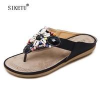 SIKETU Brand Women Sandals Girls Summer Bohemia Slippers Flip Flops Flat Sandals Beach Thong Shoes Size