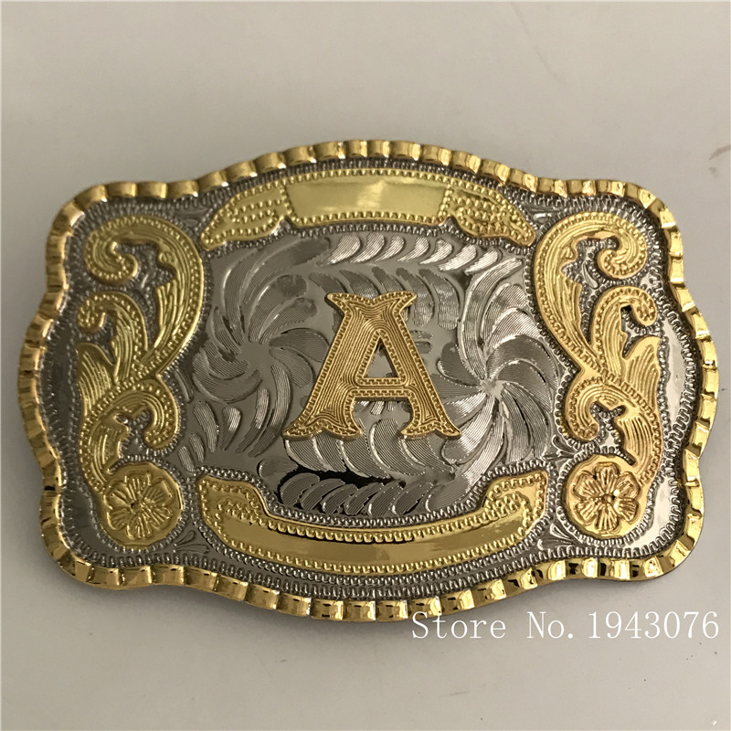 Retail Latest Styles High Quality Cool 3D Lace Gold A Initial Letter Men Belt Buckle With 138*95mm 128g Metal Belt Head Jewelry