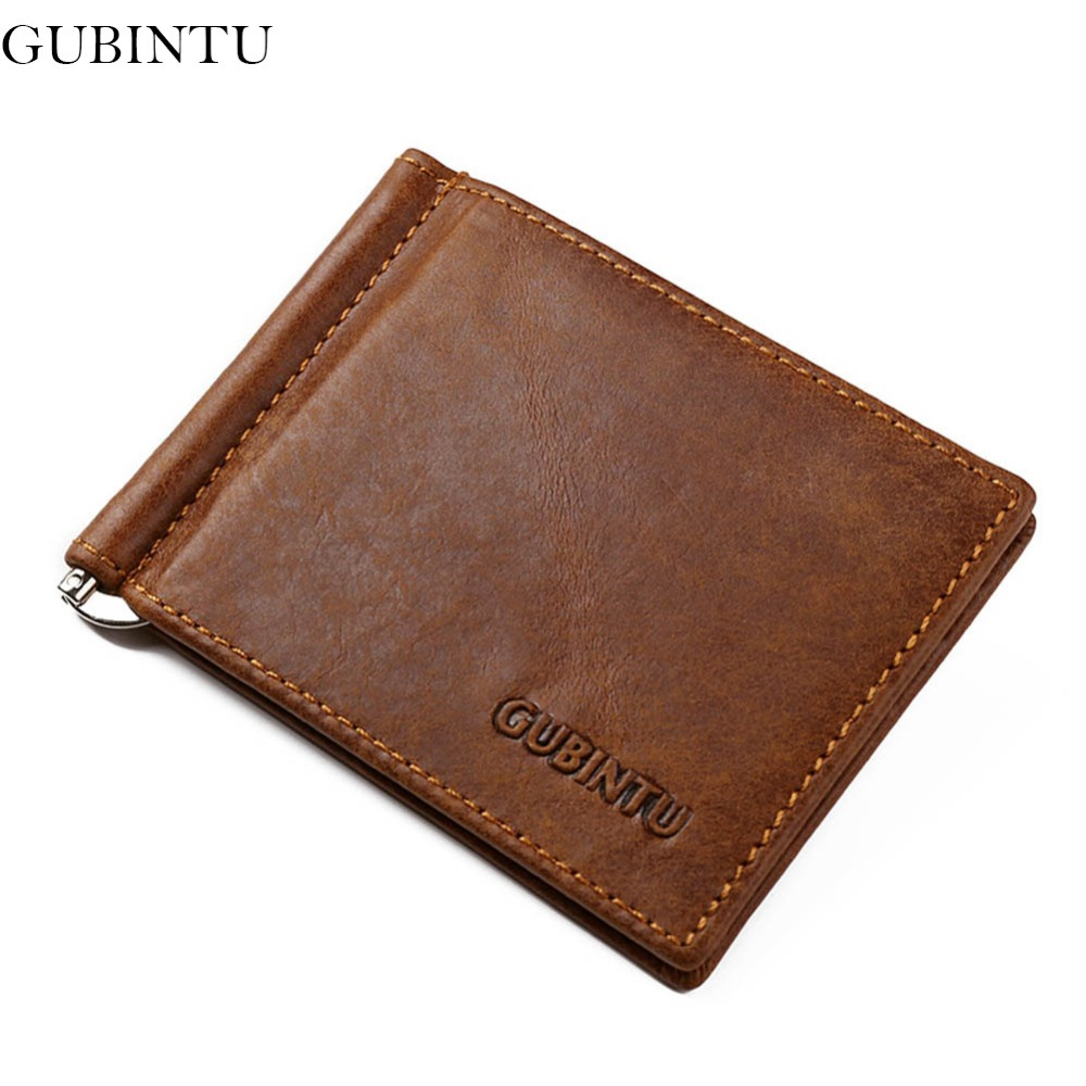 GUBINTU 100% Genuine Leather Money Clips Men Stainless Steel Clips Brand Coffee Wallet Clamps For Money-- BID181 PM49 inventing money
