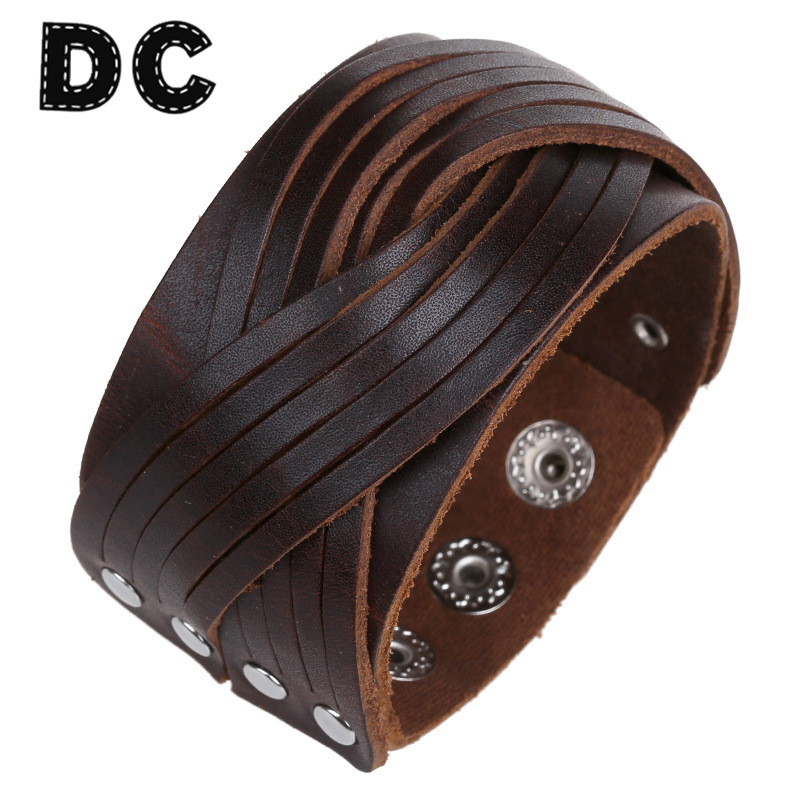 DC 2017 New Brown Genuine Leather Bracelets Punk Wide Cuff Bracelets & Bangles for Women Men Jewelry Accessories