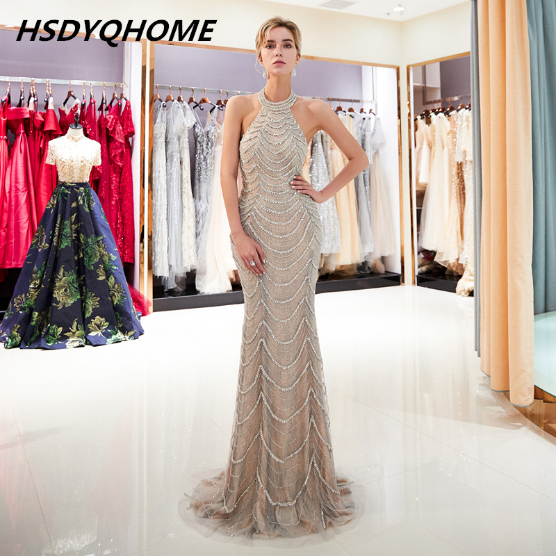 HSDYQHOME Sexy halter Prom   Evening     dresses   crystal stones mermaid long bling bling   dress     evening   prom party sweep train