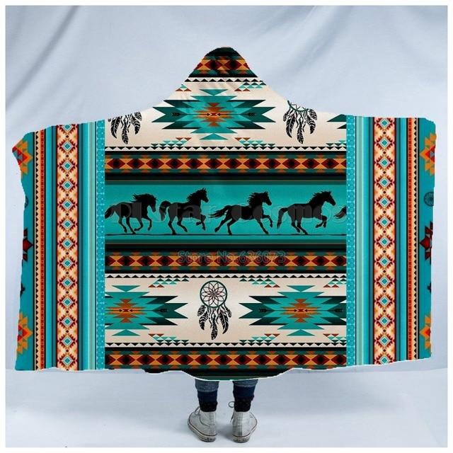 Totem/Native Indian Hooded Blanket 2