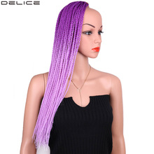 Delice Ombre Purple Pink Senegalese Twist Crochet Braids Synthetic Long Braiding Hair Box Extensions 22-24