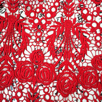 Red Rose Wedding Milk Silk Fabric Embroidered Lace Fabric 130cm 5yards Luxury Dress Fabric Textured Fabric