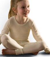 100% 여분의 고급 메리노 울 아이 열 속옷 위에 셔츠 긴 소매 thermalwear 소년 소녀 화이트 5-14years 이전