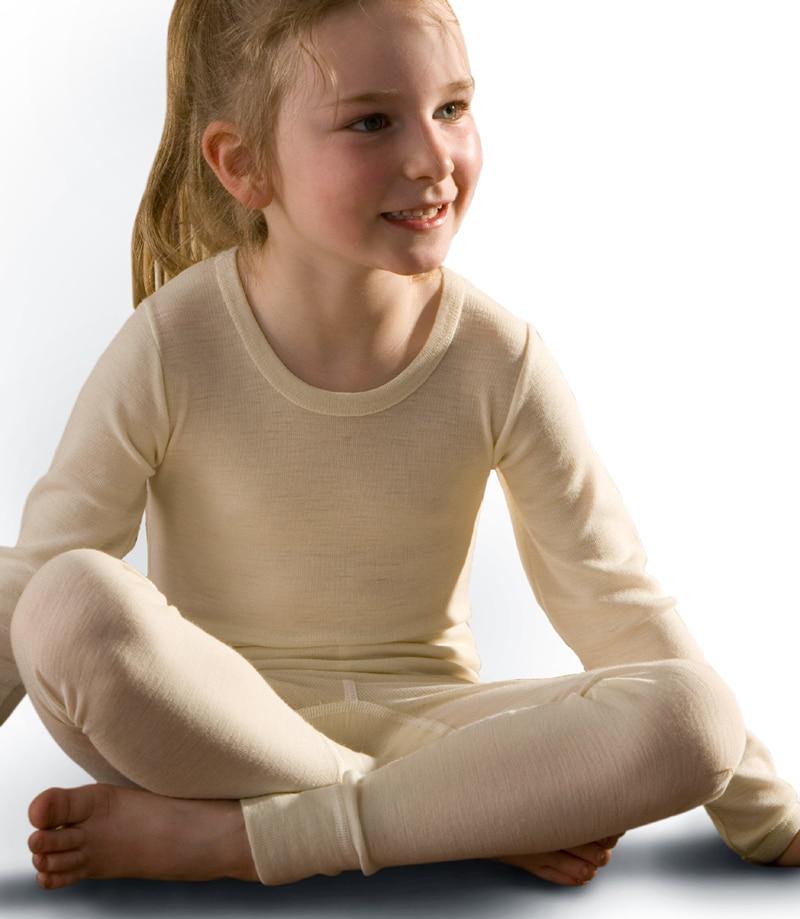 d4fe436c High quality 100% merino wool kids thermal sweater top shirt boys girls  milk white color