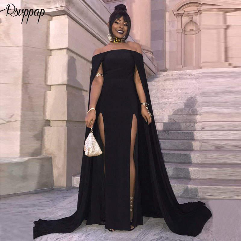 Long   Prom     Dresses   2019 Sexy High Slit Boat Neck Elegant African Party Women Black Mermaid   Prom     Dress