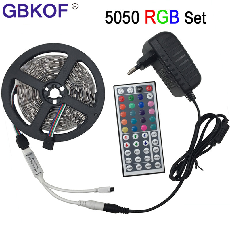 non waterproof LED light 5050 RGB led strip 5m 10m fita de led tape diode feed tiras lampada DC 12V+Remote Control+Power Adapter