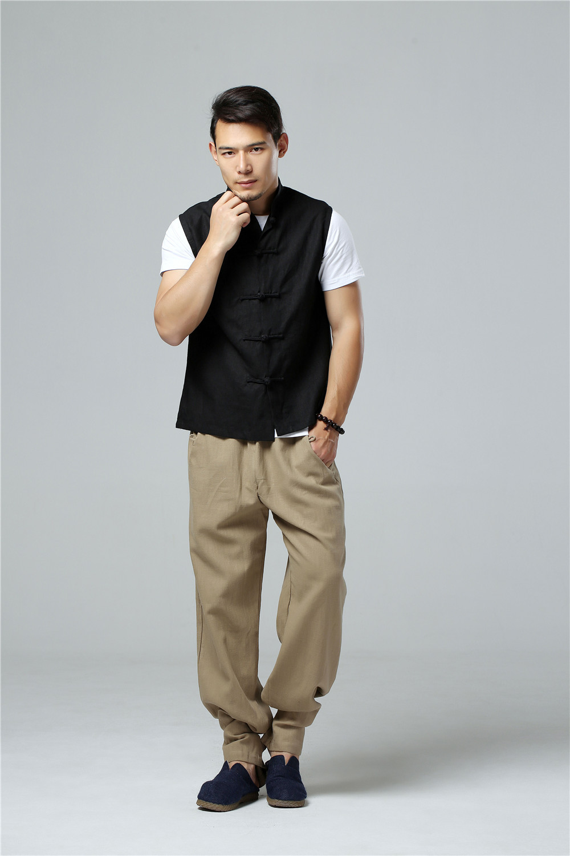 LZJN 2019 Men's Summer Waistcoat Chinese Style Vintage Breathable Linen Button Down Kung Fu Shirt Sleeveless Vest Jacket  (38)